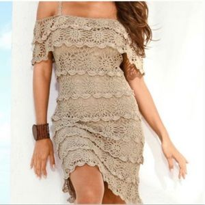 🌻 Boston Proper Khaki Crochet OTS Salsa Dress